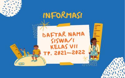 INFORMASI DAFTAR KELAS SISWA/I TAHUN PELAJARAN 2021/2022